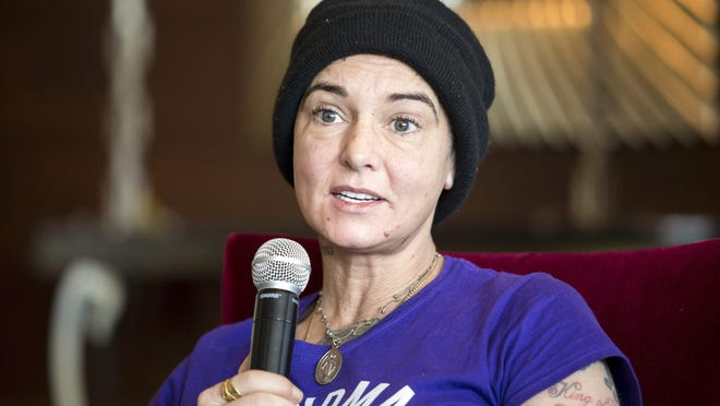 Irish singer-songwriter Sinead O'Connor speaks during the Budapest Spring Festival at a hotel in Budapest, Hungary last year.
