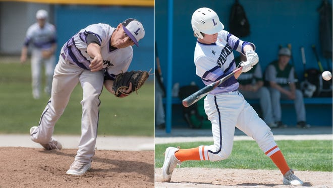 Former Lakeview baseball standouts Ethan Eldridge (left) and Zach Dehn have signed with Kellogg Community College.