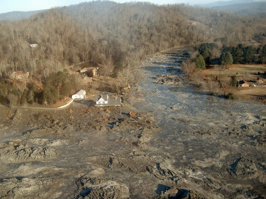 The coal ash spill at the Kingston Fossil Plant is shown circa Dec. 22, 2008.