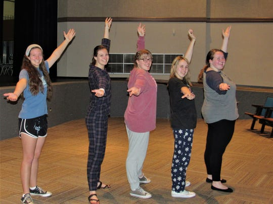 "Strutting their stuff, juniors Grace Bass, Hannah Varner, Anna-Grace Gragg, Hollie Sikes and Abby Dunn will perform the song ""Someone in a Crowd."""