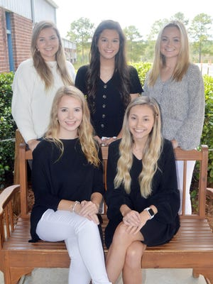GCCS Senior Homecoming candidates are (seated from left) Taylor Wills, McKenzie Johns, (standing from left) Anna Kelly, Ansley Borton and Briley Johnson.