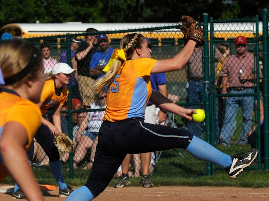 River Valley's Cassady Starkey pitches against Lakewood during a district title softball game at Pickerington Central last year. Starkey is organizing Monday's Bark at the Park game against Pleasant, taking donations for the Marion County Dog Pound.
