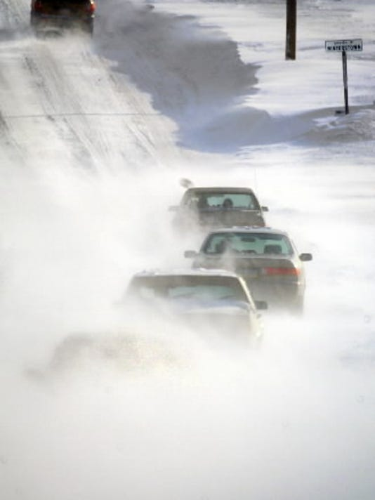 This photo was taken years ago on Route 24 near Winterstown. Drivers braved the drifting snow. (York Daily Record/Sunday News -- Bil Bowden)