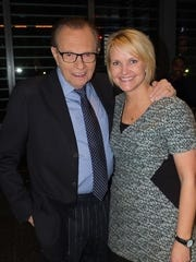 "Melissa May, right, spent six years producing CNN's ""Larry King Live"" and is pictured with him here."