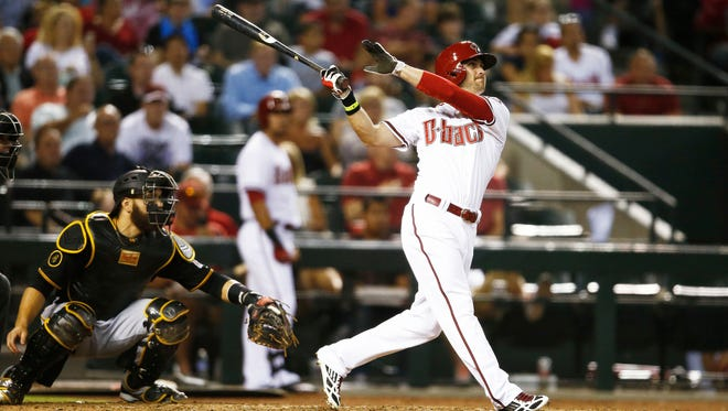 Arizona Diamondbacks outfielder Ender Inciarte hits a three-run homer to right field against the Pittsburgh Pirates in the fifth inning on Aug. 1, 2014, at Chase Field.