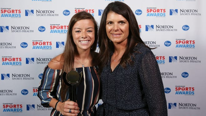 Two-time U.S. Olympic gold medalist Mia Hamm, right, posed with Julia Foster during the CJ Sports Awards.