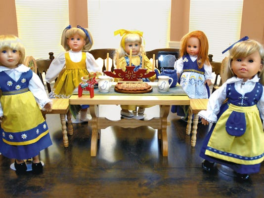 This bevy of beauties owned by Doña Ana Doll Club member Gail Savage and her daughter, Shannon, seem ready to entertain visitors at a recent club show. This year's event will be at a new location, the Scottish Rite Temple from 9 to 4 p.m. Saturday.