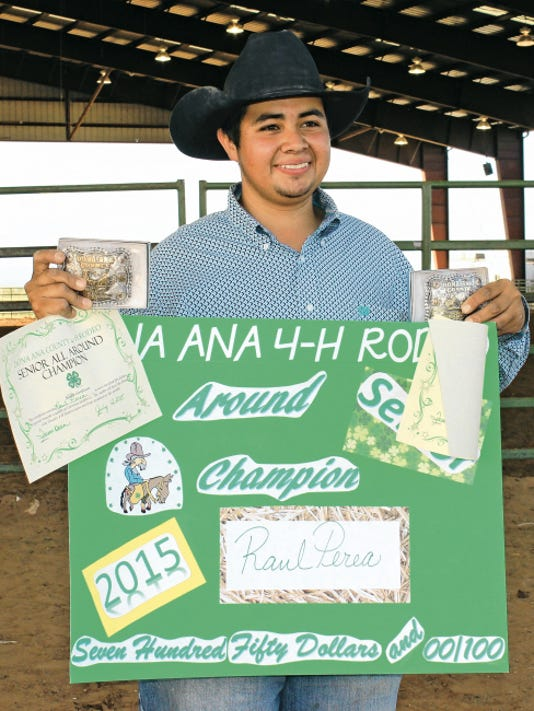 Raul Perea, a 2015 Deming High School graduate, picked up the All-Around Championship in the senior division of the Doña Ana County 4-H Rodeo last weekend at the Southern New Mexico State Fairgrounds in Las Cruces.