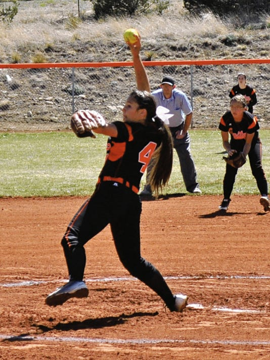 Improved pitching, by freshman Dominique Valadez, has benefitted the Capitan softball team.