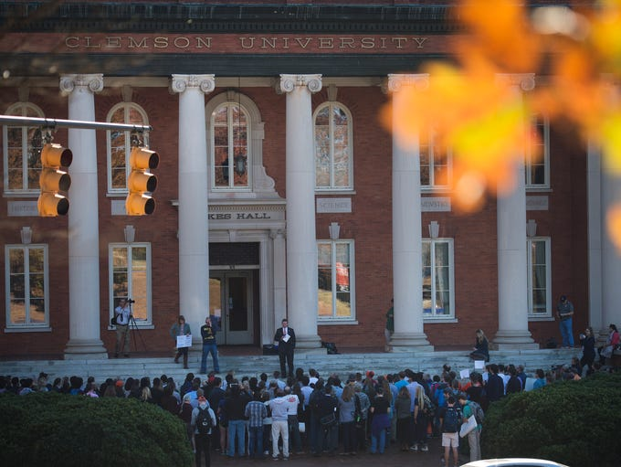 Clemson graduate students and community members protest