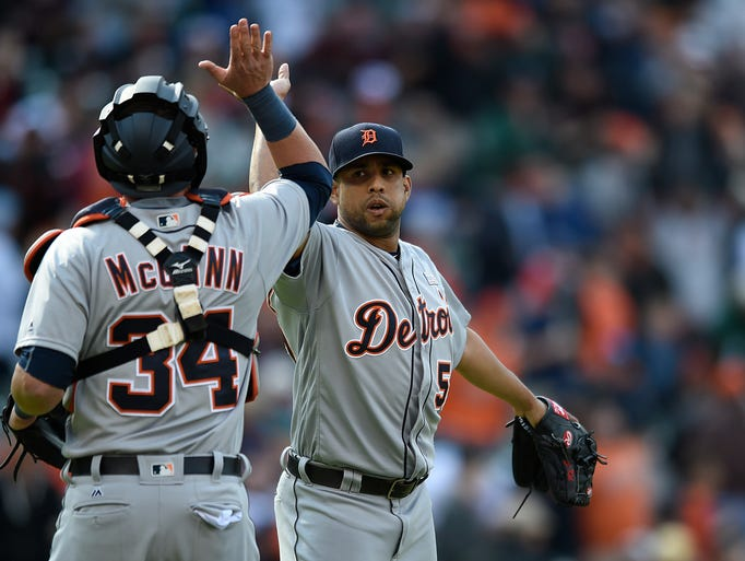 Detroit Tigers pitcher Francisco Rodriguez, right,