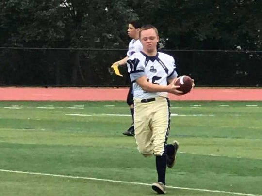 Patrick Petro plays flag football with the Woodbridge