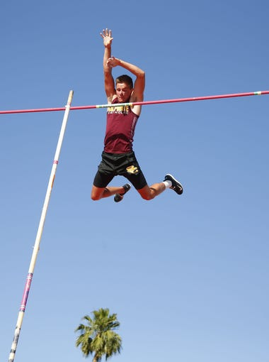 Salpointe's Andrew Ference competes in pole vault during the state track and field championship at Mesa Community College on May 5, 2018.