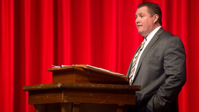 Knox County Schools superintendent candidate Dale Lynch answers questions during a forum at West High School on Tuesday, March 7, 2017.
