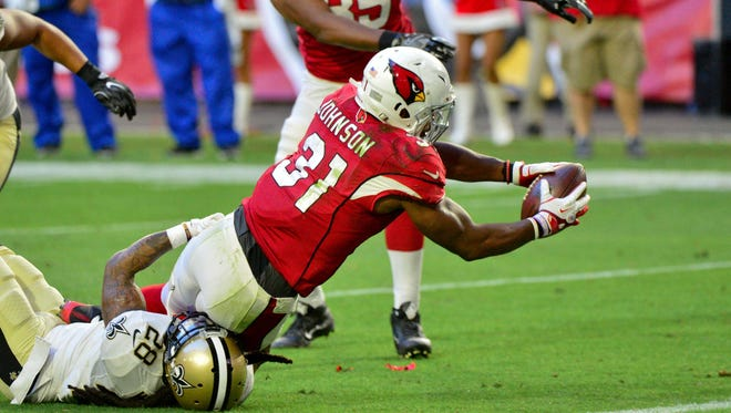 The Cardinals' David Johnson has had at least 100 yards from scrimmage in every game this season.