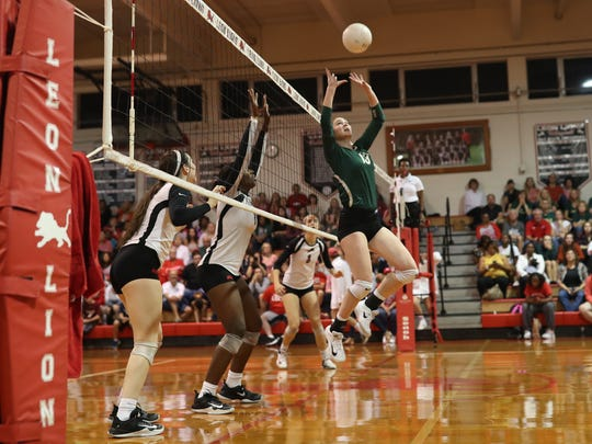 Lincoln takes on Leon during the Lions' District 2-8A final win at home on Thursday, Oct. 19, 2017.