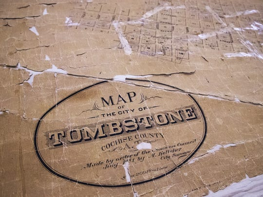 This is a map of Tombstone that was printed in 1881, three months before the shootout at the OK Corral.