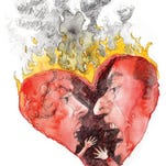 300 dpi Chuck Todd color illustration of couple arguing inside a flaming heart; can be used with stories about conflicts in marriage, lover's spats, etc. Contra Costa Times (Bay Area News Group) 2010<p> 14000000; krtcampus campus; krtnational national; krtsocial social issue; krtworld world; SOI; krt; mctillustration; 14006003; 14006004; 14006006; courtship; divorce; FEA; krtfamily family; krtfeatures features; krtrelationship relationship; krtsocialissue social issue; marriage; argument; cc contributed; fight; heart; krtholiday holiday; krtvalentine valentine; todd; 2010; krt2010
