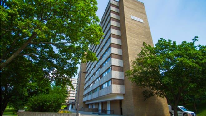 The Wells West Tower residence hall on the campus of the University of Wisconsin-Whitewater.