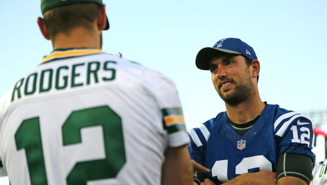 Colts quarterback Andrew Luck spoke with Packers quarterback Aaron Rodgers at the 2016 Hall of Fame Game, which was canceled.