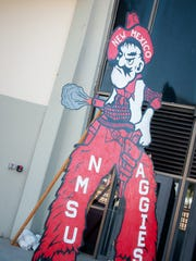 "A ""classic"" Pistol Pete display seen outside the Pan American Center."
