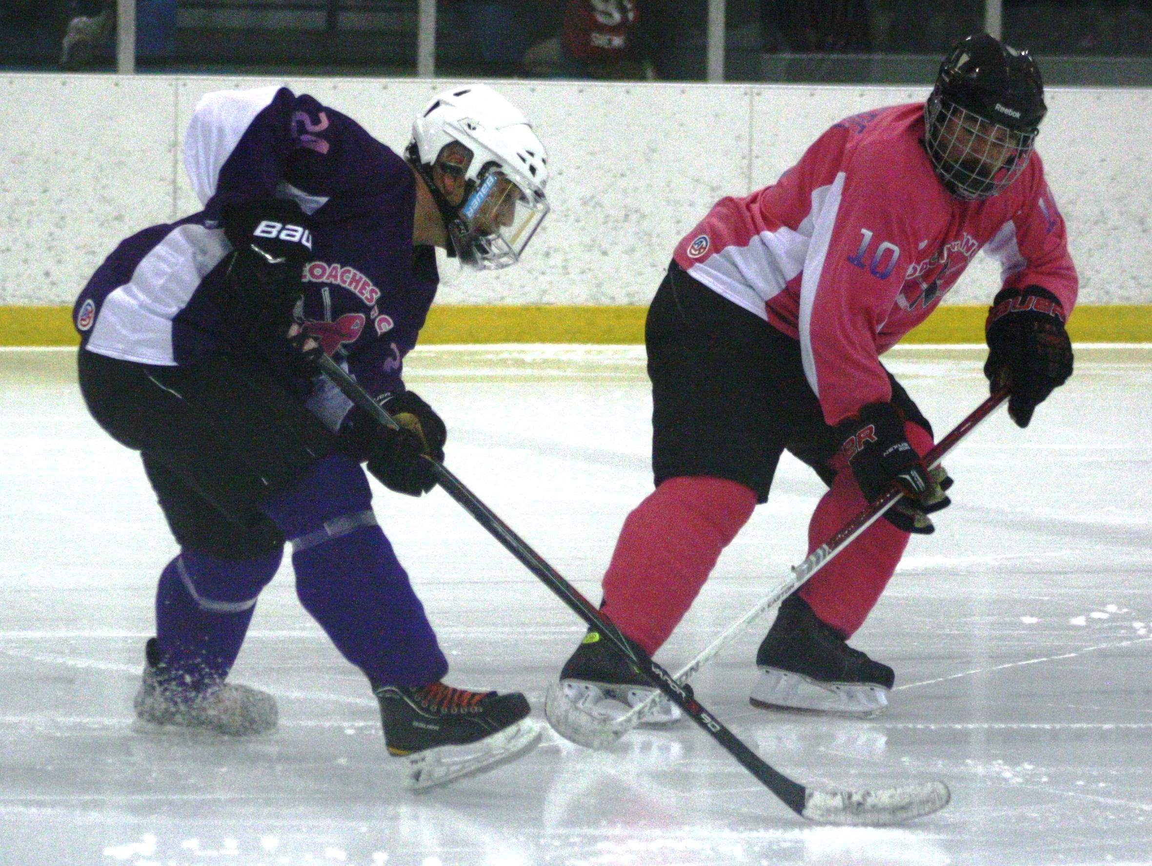 Wearing purple and pink jerseys, current and former Livonia Hockey Association coaches squared off in Saturday's Coaches vs. Cancer fund-raising game at Eddie Edgar Arena.