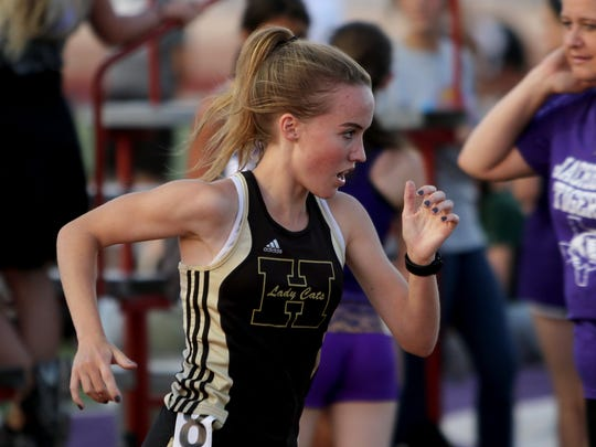 Henrietta's Leah Bullinger runs in the 3A 1600 meter