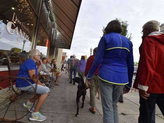 Organized by Invisible Door County, about 75 anti-racism marchers walked the N. Third Avenue sidewalks in Sturgeon Bay in support of Charlottesville counter protesters.