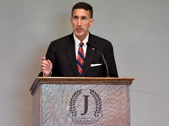 Rep. David Kustoff (TN-08) gave his legislative update to The Jackson Chamber and local business and community leaders, Wednesday, Aug. 16, 2017, at a Jackson country club.