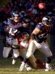 Denver Broncos lineman Lennie Friedman (64) blocks