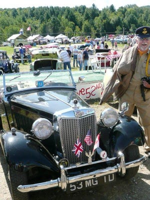 Gene Fodor at an auto show in Stowe with his 1953 MG TD Midget two-seater.