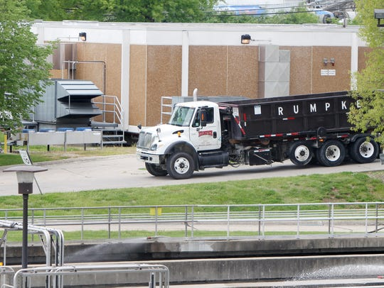 A Rumpke truck arrives at the Little Miami Wastewater
