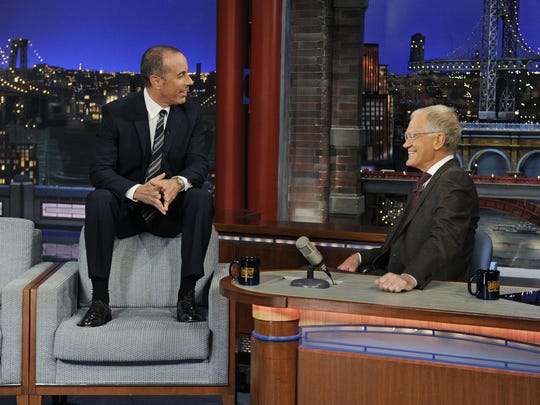 "David Letterman interviews comedian Jerry Seinfeld on an episode of ""Late Show"" earlier this year."