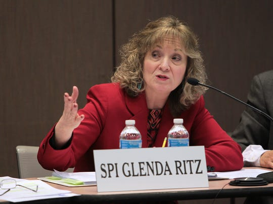 Superintendent of Public Instruction Glenda Ritz speaks during an Indiana Education Roundtable meeting.
