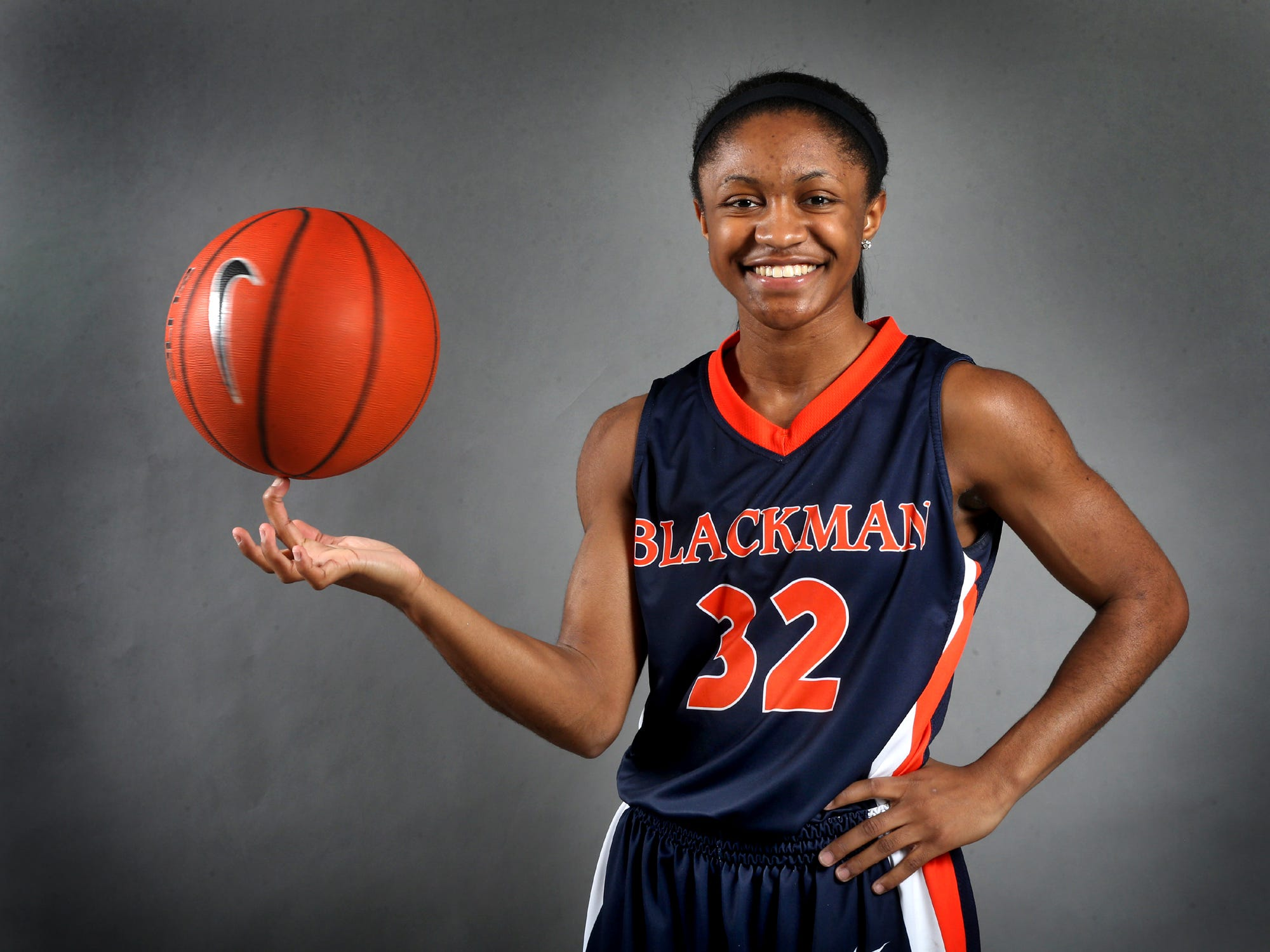 Crystal Dangerfield is one of the players on the all-area girls basketball team. Photo shot in the studio on April 9, 2015.