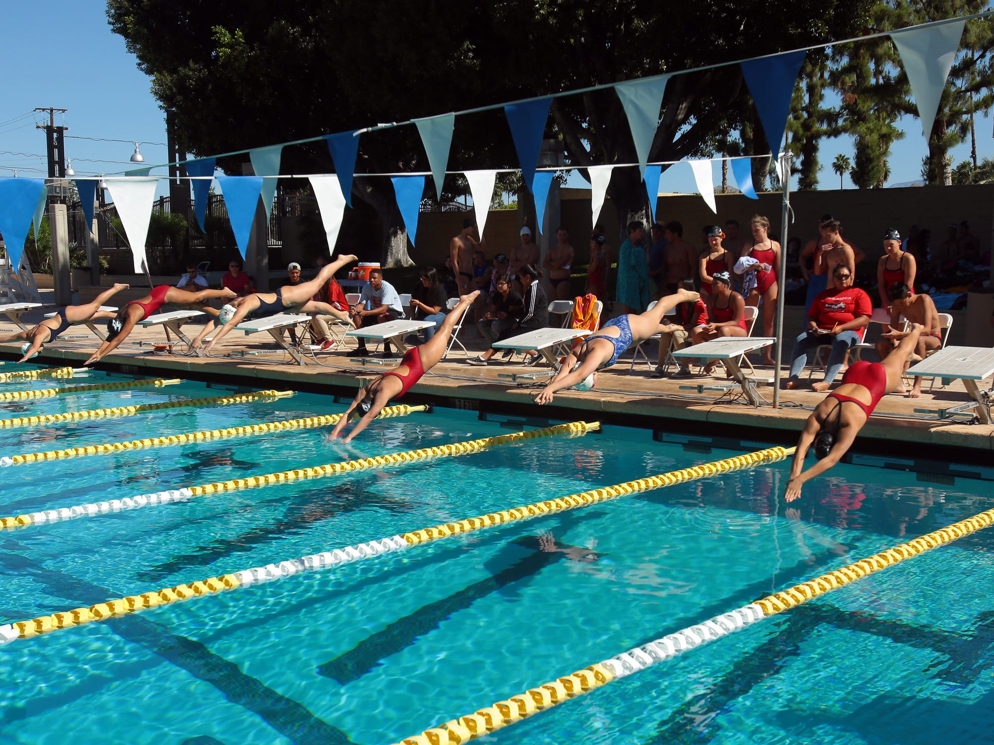 Girls varsity swimmers from La Quinta and Palm Springs dive into the water during a high school swim on Thursday at the Palm Springs Swim Center.