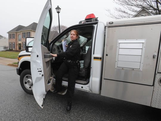 Newark's only Animal Control Officer Donna Vickers, who recently celebrated her 25th anniversary on the job, arrives at a call at The Hunt at Louviers development in Newark.