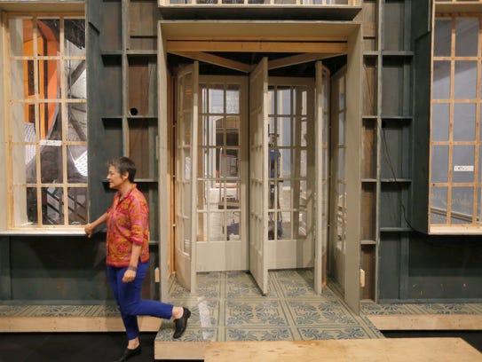 Robin Guarino on the set of the Cincinnati Opera's