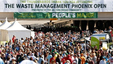 201,003 spectators set an attendance mark during the third round of the Waste Management Phoenix Open at TPC Scottsdale on Saturday, Feb. 6, 2016.