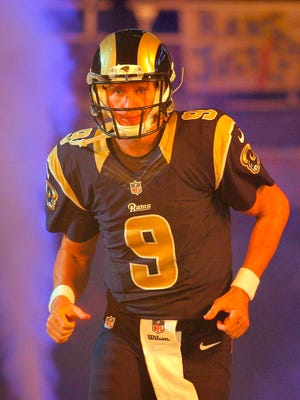Oct 19, 2014: St. Louis Rams quarterback Austin Davis (9) takes to the field frior to a game against the Seattle Seahawks at the Edward Jones Dome. The Rams won 28-26.