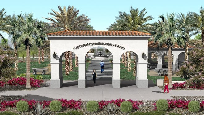Artist rendering of one of the arched gateway entrances into Veterans Memorial Park in Coachella.