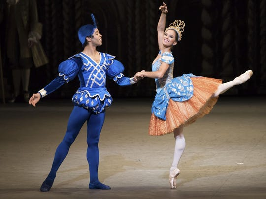 "Misty Copeland (Princess Florine) and Gabe Stone Shayer (Bluebird) in Alexei Ratmansky's ""The Sleeping Beauty."""