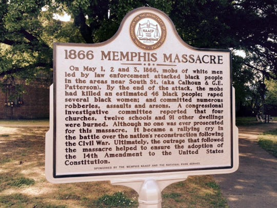 Historical marker for the 1866 Memphis Massacre
