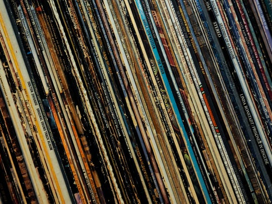 A portion of Chuck Wiser's vinyl album collection sits on shelving in his St. Cloud home.