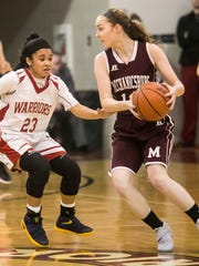 Susquehannock's Jayla Galbreath(23), guards Mechanicsburg's