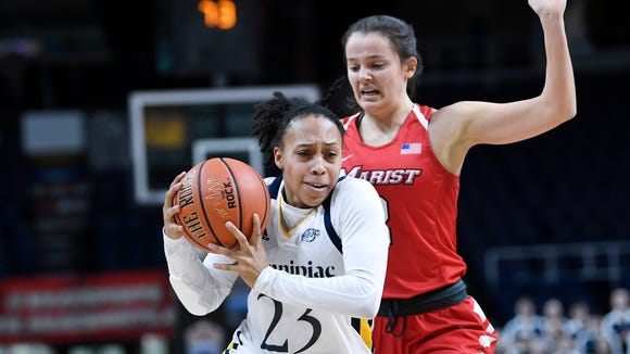 Quinnipiac guard Brittany Martin (23) moves the ball past Marist guard Allie Best (2) during the first half of an NCAA college basketball game during the Metro Atlantic Athletic Conference women's tournament, Monday, March 11, 2019, in Albany, N.Y. (AP Photo/Hans Pennink)