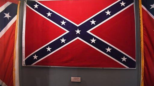 Confederate flags that once flew at the South Carolina Statehouse are displayed June 24, 2015, at the South Carolina State Museum in Columbia, S.C.
