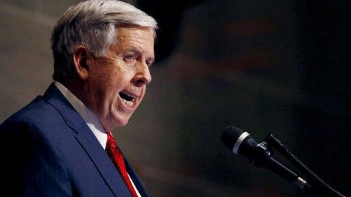 Missouri Gov. Mike Parson delivers his State of the State address in Jefferson City in 2019.