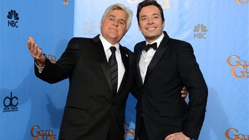 Jay Leno, left, and Jimmy Fallon are pictured backstage at the 70th Annual Golden Globe Awards in Beverly Hills, Calif. Fallon will lead top comedians in saluting his ?Tonight Show? predecessor Jay Leno with the nation?s top humor prize in October at the Kennedy Center in Washington. Leno will receive the prize during a performance by his fellow comedians Oct. 19 in Washington. The show will be broadcast nationally Nov. 23 on PBS stations.