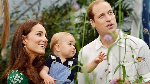Britain's Prince William and Kate Duchess of Cambridge and the Prince during a visit to the Sensational Butterflies exhibition at the Natural History Museum, London. The Duchess of Cambridge, wife of Prince William, is expecting her second child and was being treated for severe morning sickness, royal officials said Monday.